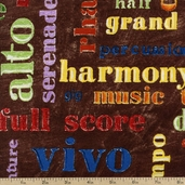 Rhapsody Lyric Panel Cotton Fabric - Brown 107-05