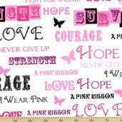 Ribbons of Hope Words Cotton Fabric - White