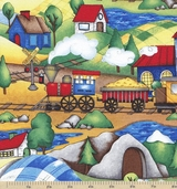 Riding the Rails Scenic Cotton Fabric