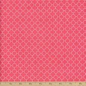 Riley Blake Mini Quatrefoil Cotton Fabric - Coral