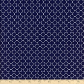 Riley Blake Mini Quatrefoil Cotton Fabric - Navy