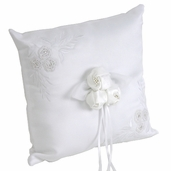 Ring Bearer Pillow - Square Embroidered Satin - White