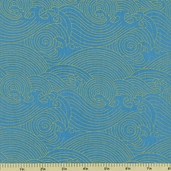 Rising Sun Waves Cotton Fabric - Blue Metallic 60605-2G - CLEARANCE