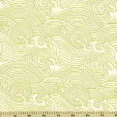 Rising Sun Waves Cotton Fabric Cream Metallic 60605-9G
