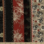 River Mist Floral Stripe Cotton Fabric - Black