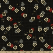 River Mist Small Floral Cotton Fabric - Black