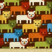 Roar Cotton Fabric - Lion Toss - Bermuda