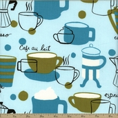 Robert Kaufman Metro Cafe Coffee Cotton Fabric - Aqua