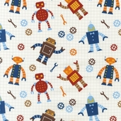 Robot Factory Organic Cotton Fabric - Earth