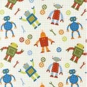 Robot Factory Organic Cotton Fabric - Multi