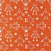 Robot Factory Organic Cotton Fabric - Orange