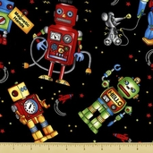 Robots Robots Robots Toss Cotton Fabric - Black 3910-60545-8