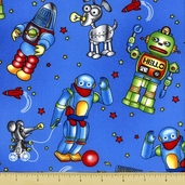 Robots Robots Robots Toss Cotton Fabric - Blue 3910-60545-2