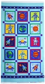 Rockets & Robots Panel Cotton Fabric - Multi 01565-84
