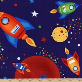 Rockets & Robots Space Rockets Cotton Fabric - Navy 01566-55