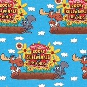 Rocky and Bullwinkle Cotton Fabric - Blue