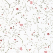 Romance Cotton Fabric - Vines White