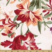 Romantic Delights Cotton Fabric - Large Floral - Ivory