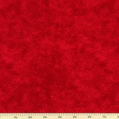 Rooftop Santas Mini Dots Cotton Fabric - Red