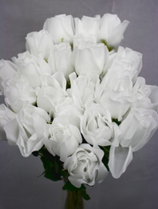 Rose Bud Spray pkg of 24 - White - Clearance