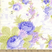 Rose With Words Cotton Fabric - Periwinkle
