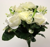 Roses, Stephanotis and Pearl Hyacinths 13 inch - Cream