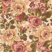 Rosetree Cottage Cotton Fabric - Cream - CLEARANCE