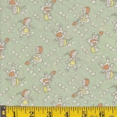 Rosie's Garden Cotton Fabric - Garden Girl on Green