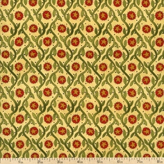 Round Robin Vine Grid Cotton Fabric - Beige 6042-14