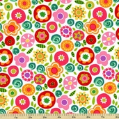 Round The Garden Allover Cotton Fabric - White 5786-R