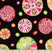 Round The Garden Cotton Fabric - Black 5783-K