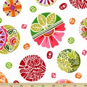 Round The Garden Cotton Fabric - White 5783-R