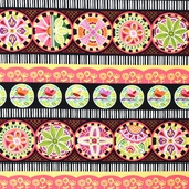 Round The Garden Stripe Cotton Fabric - 5784-K