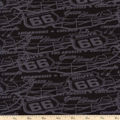 Route 66 Compressed Map Cotton Fabric - Black 3941-60642-80