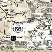 Route 66 Cotton Fabric - Natural MAP-C7529