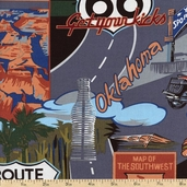 Route 66 Roadside Cotton Fabric - Black BBTI-867-4