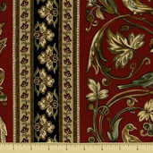 Royal Gardens Cotton Fabric - Border Stripe - Red