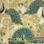 Royal Peacocks Cotton Fabric - Antique Gold