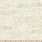 Royal Peacocks Crackle Cotton Fabric - Ivory Gold