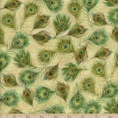 Royal Peacocks Feathers Cotton Fabric - Gold/Gold