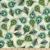 Royal Peacocks Feathers Cotton Fabric - Parchment/Gold