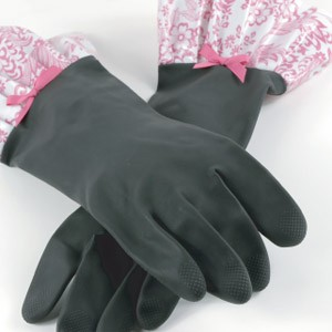 Rubber Gloves with Oilcloth Trim