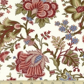 Ruby Blue Jacobean Floral Cotton Fabric - Cream C9517