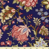 Ruby Blue Jacobean Floral Cotton Fabric - Navy C9517