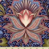 Ruby Blue Large Jacobean Floral Cotton Fabric - Navy C9511