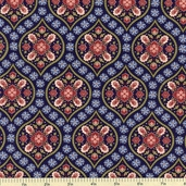 Ruby Blue Vignette Cotton Fabric - Navy C9512