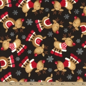 Rudolph Reindeers Flannel Fabric - Black