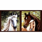 Running Free Wild Horse Panel Cotton Fabric - Brown