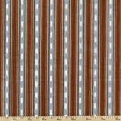 Rustic Living Stripe Cotton Fabric - Dusty Teal/Brown 1649-22699-QA