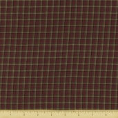 Rustic Woven Plaid Cotton Fabric - Wine 1013
